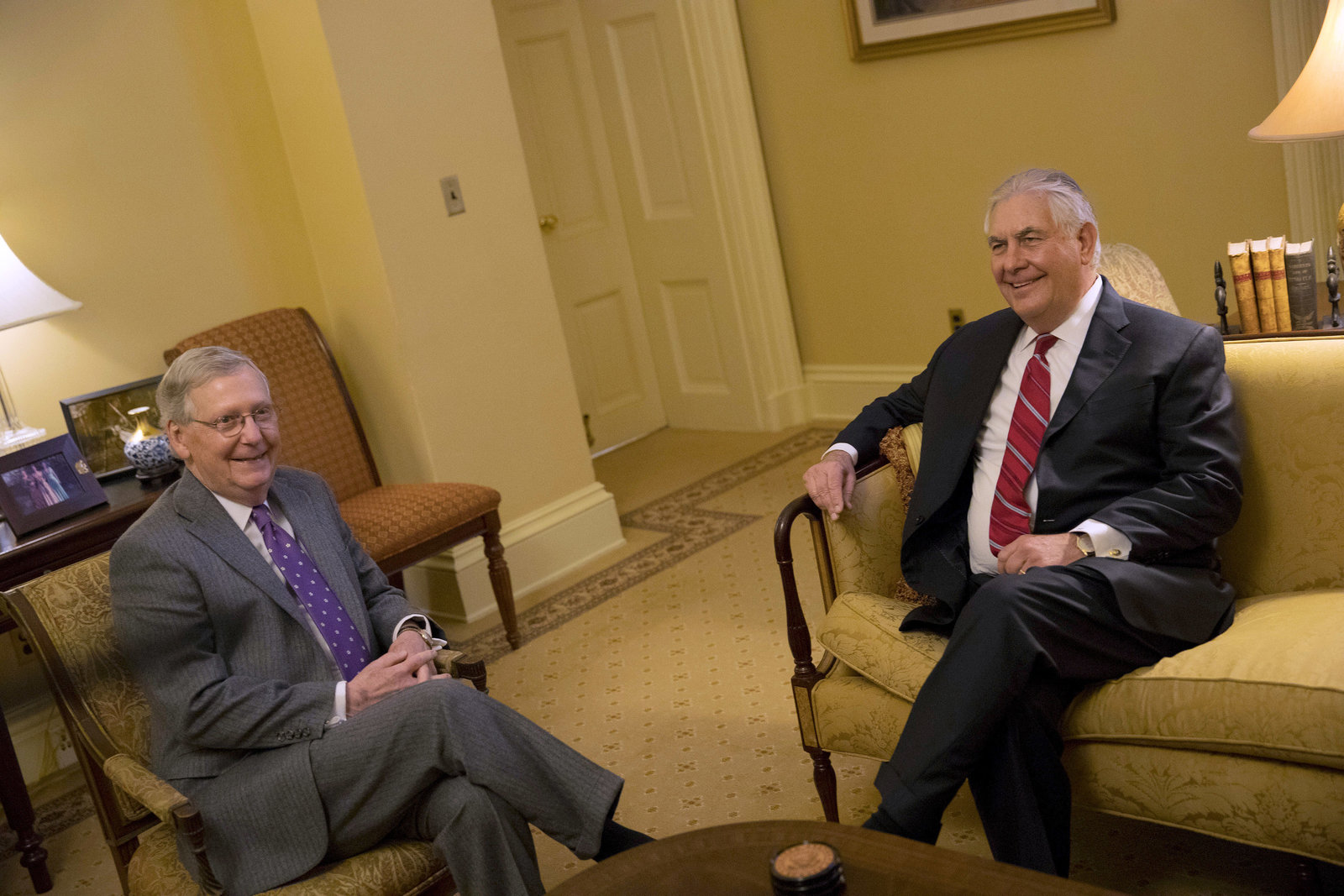 Former Exxon chief Rex Tillerson meets with House Majority Leader Mitch McConnell