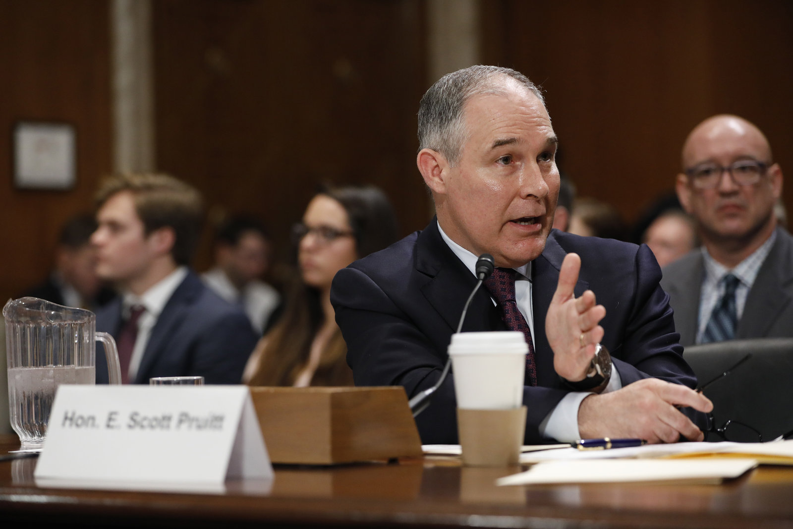 Scott Pruitt answers questions at his Senate confirmation hearing for EPA administrator