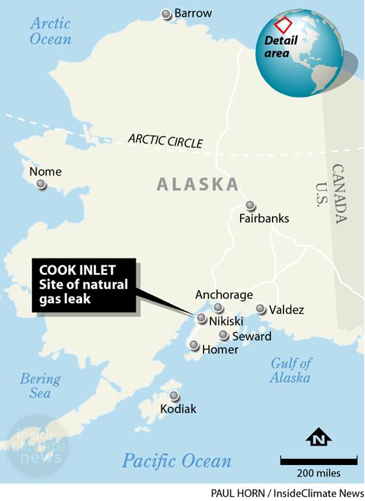 Site of natural gas leak in Alaska's Cook Inlet