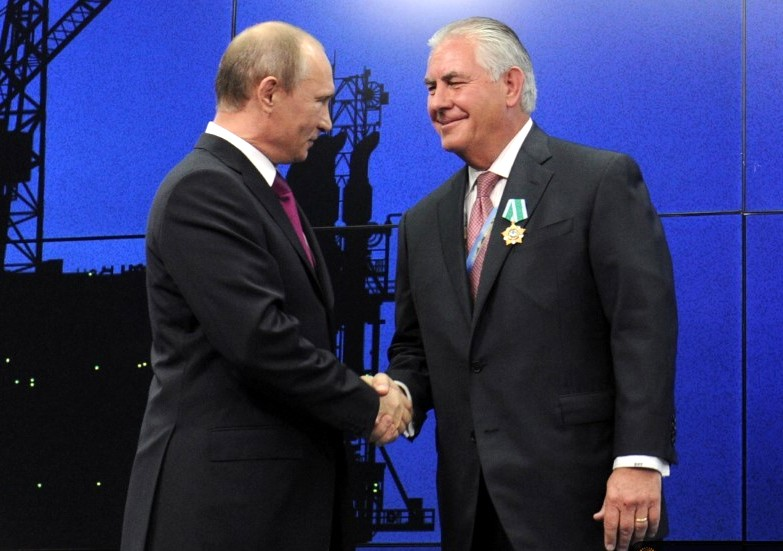 Russian President Vladimir Putin and then-Exxon CEO Rex Tillerson reached an agreement on an oil deal in 2011