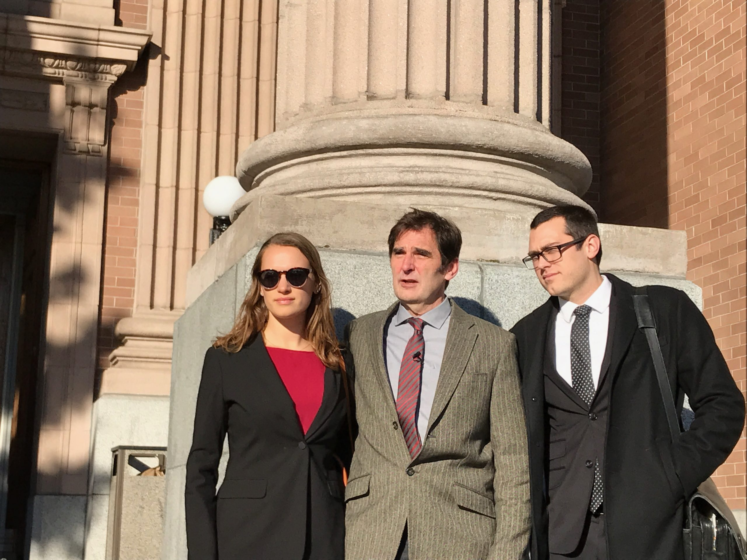 Anti-pipeline activist Ken Ward and two members of his legal team