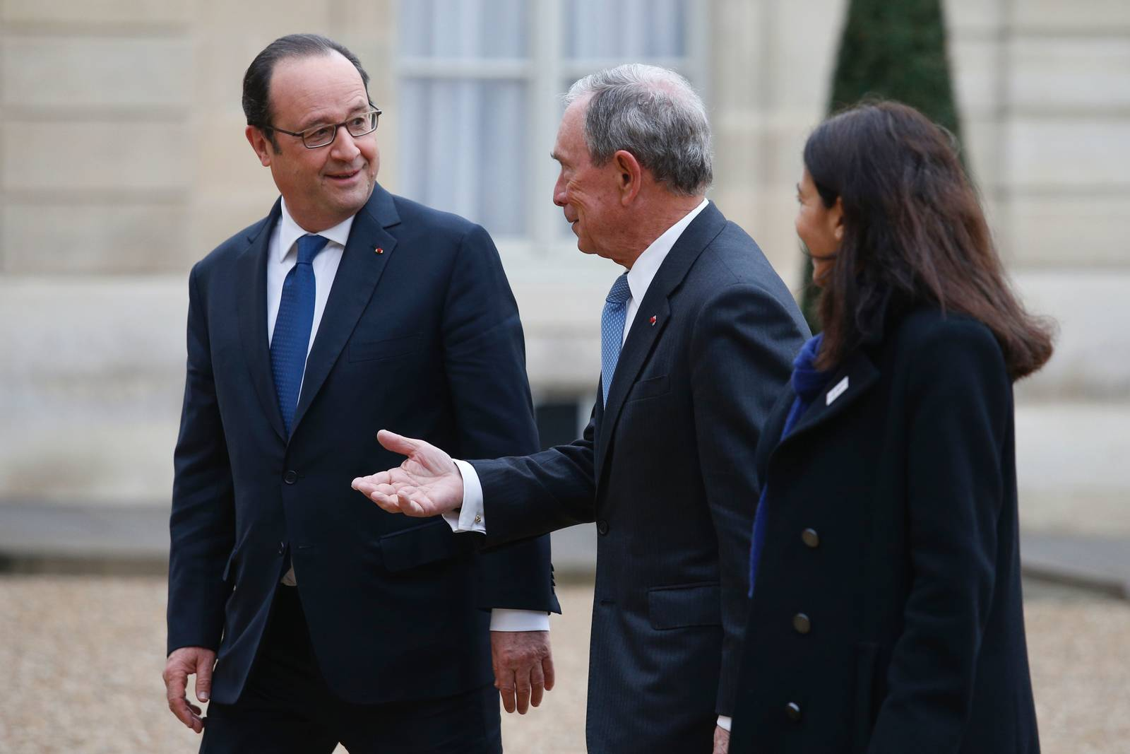 Michael Bloomberg, former mayor of New York, met with French President Francois Hollande and Paris Mayor Anne Hidalgo