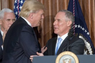 EPA chief Scott Pruitt after Donald Trump's executive order targeting environmental regulations