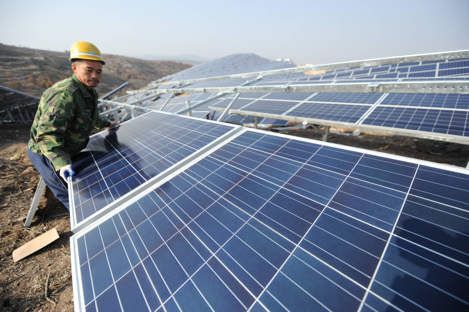 A solar photovoltaic power project in Yantai, Shandong Province of China.