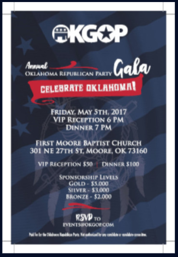 EPA Administrator Scott Pruitt gets top billing on the gala poster