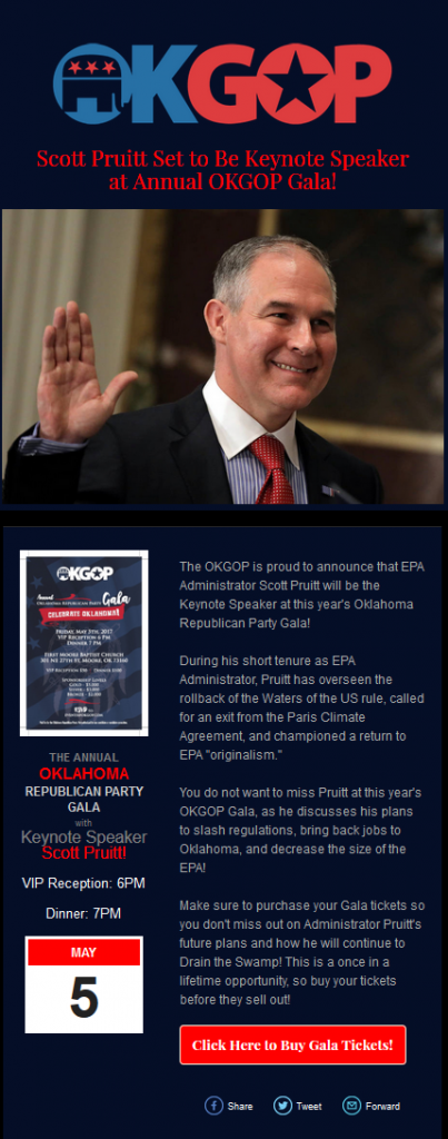 EPA Administrator Scott Pruitt received top billing on the gala's promotional materials.