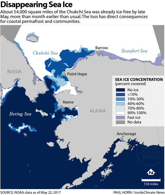 Disappearing Arctic sea ice map