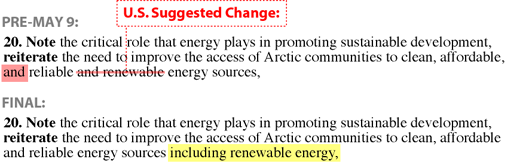 Excerpts from the edited Arctic Council declaration