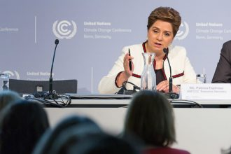 The UN's top climate official, Patricia Espinosa, addresses the Bonn meeting. The U.S. has The U.S. has sent a small team of mostly Obama-era officials.