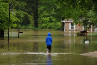 Extreme weather caused flooding in Arnold, Missouri, outside St. Louis