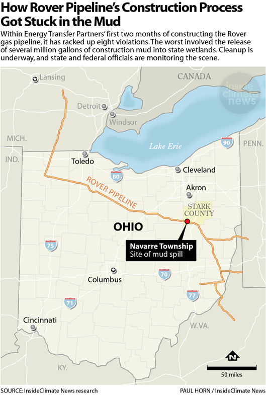 The Rover pipeline and spill location in Ohio
