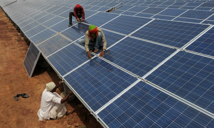 Installing solar panels in India
