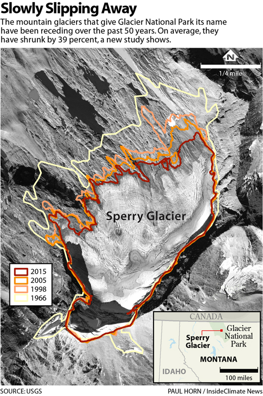 Lines on the map show how Sperry Glacier has receded over time.