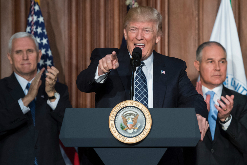 President Donald Trump, with EPA Administrator Scott Pruitt and Vice President Mike Pence