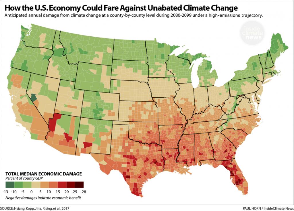 Estimates of economic damage in a high-emissions future.