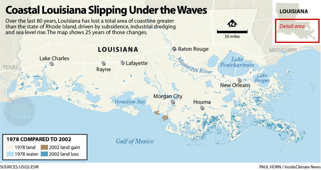 Coastal Louisiana Slipping Under the Waves