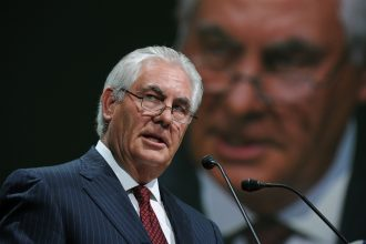 Rex Tillerson, then Exxon's CEO, speaks at a gas conference