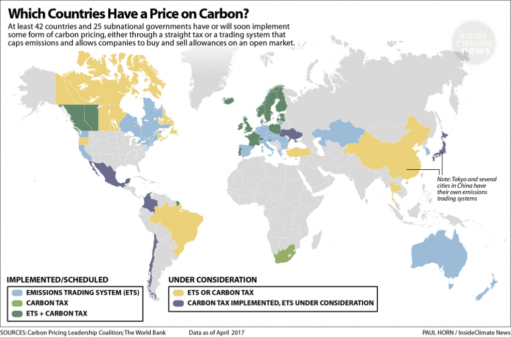 Which countries have a carbon price?
