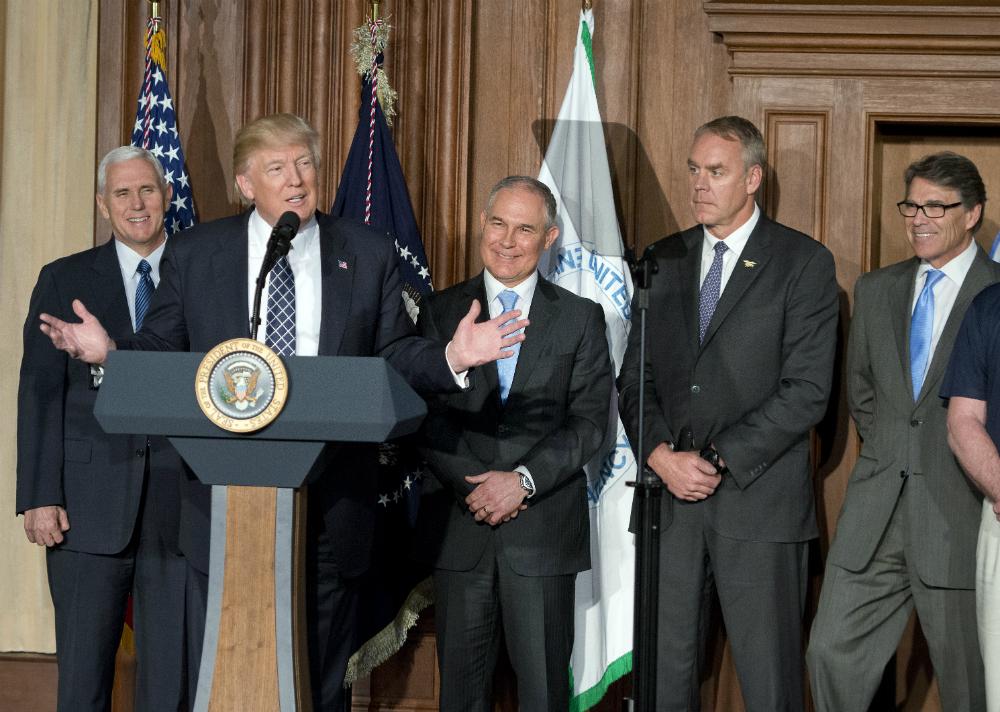 Mike Pence, Donald Trump, Scott Pruitt, Ryan Zinke and Rick Perry