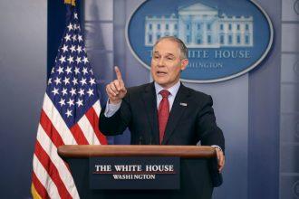 Scott Pruitt talks to the White House press corps