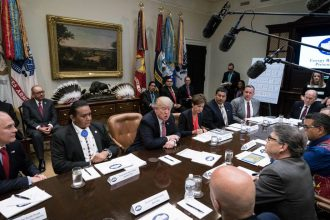 """President Donald Trump met with governors and tribal leaders to discuss his """"energy dominance"""" campaign on June 28"""