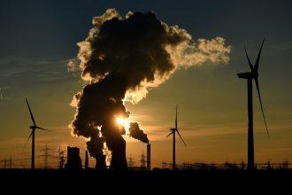 Wind power and smokestacks