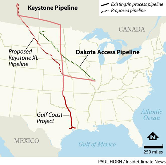 Keystone XL and Dakota Access pipeline routes