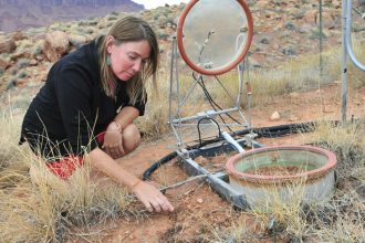 U.S. Geological Survey scientist Sasha Reed studies how changing temperatures and precipitation patterns affect soil and ecosystems. Credit: Jennifer LaVista/USGS