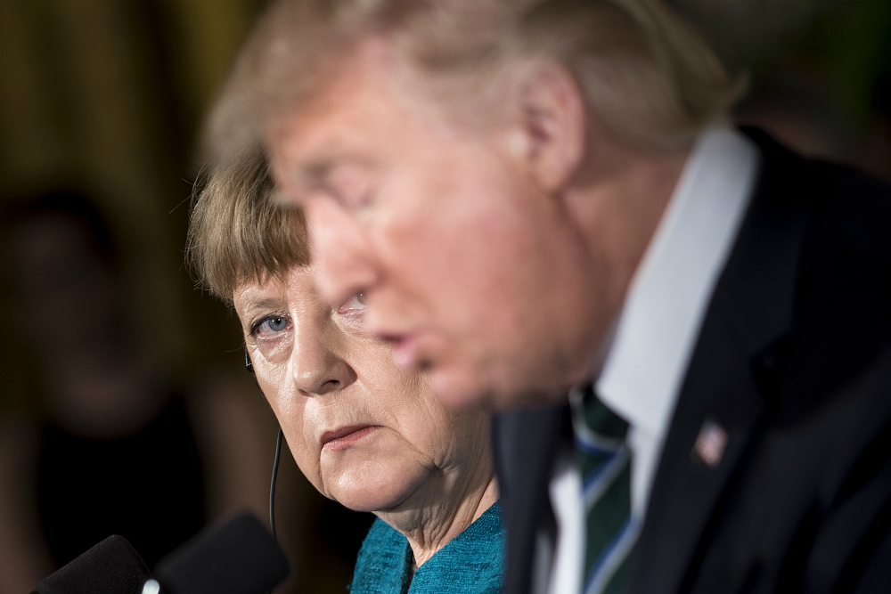 German Chancellor Angela Merkel and U.S. President Donald Trump. Credit: Brendan Smialowski/AFP/Getty Images