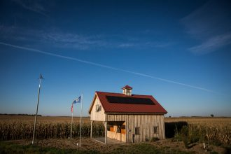 Farm owners and ranchers are installing solar panels along stretches of their land that Keystone XL pipeline builder TransCanada wants to take using eminent domain.