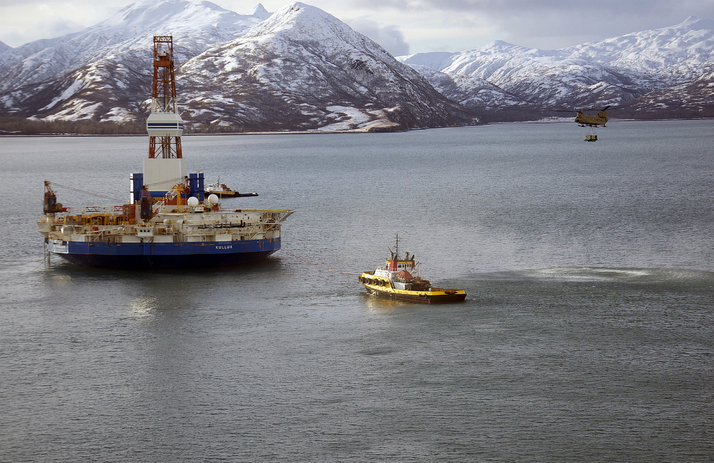 Shell's drilling rig Kulluk ran aground in the Arctic in 2013. Credit: SSgt Aaron M. Johnson/U.S. Air Force