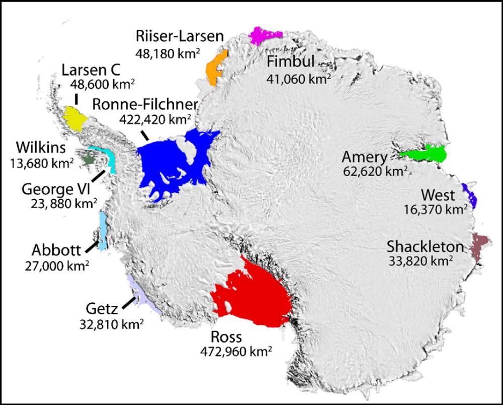 Ice shelves of Antarctica
