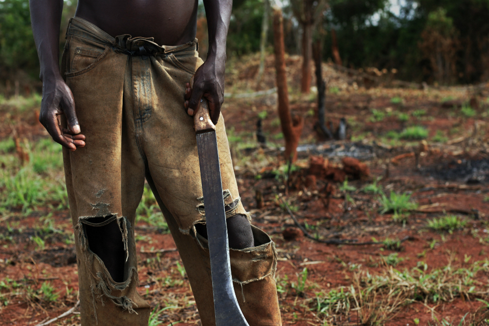 A Ugandan man clears trees and brush to create rangeland for cattle.  Credit: Roberto Schmidt/AFP/Getty Images