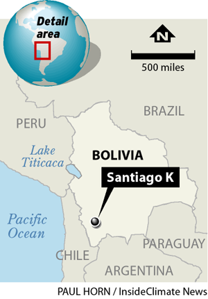 Map showing Santiago K, Bolivia