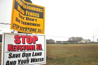 Landowners have been pushing back against TransCanada's construction plan in Nebraska farmland. Credit: Andrew Burton/Getty Images