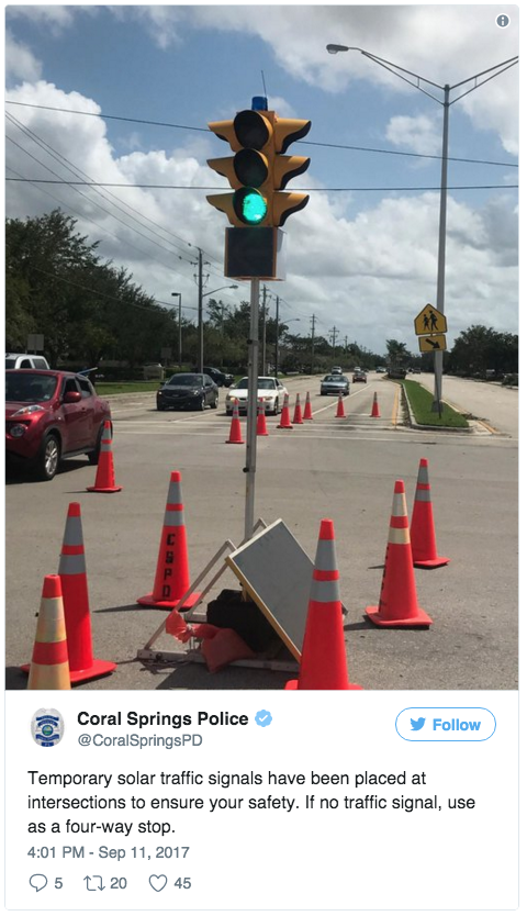 Coral Springs, Florida, set up solar-powered traffic lights