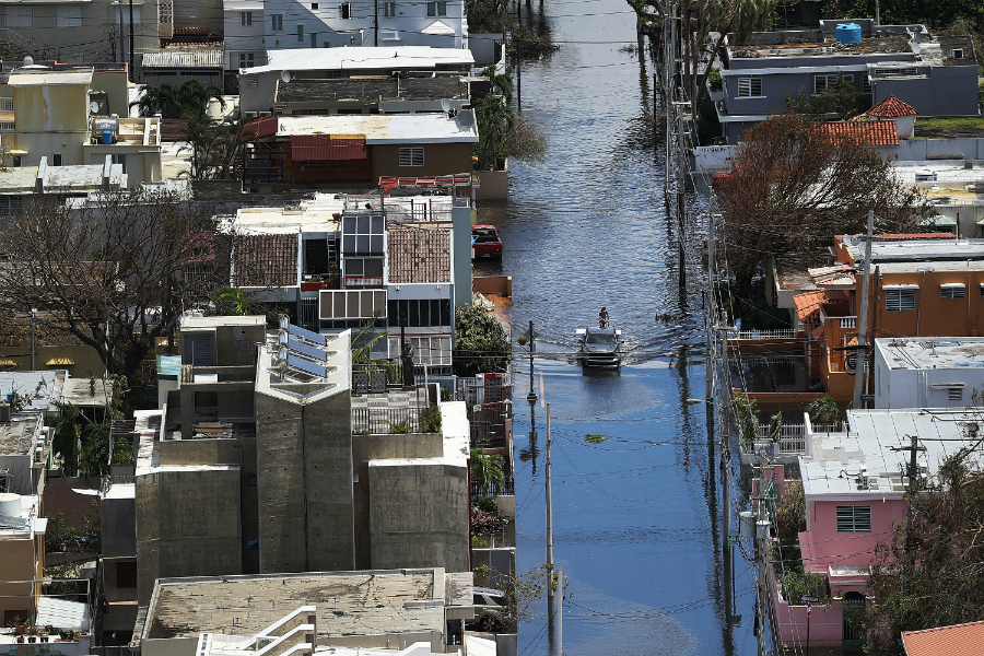 Puerto Rico has many climate vulnerabilities, including urban flood risks that can spread diseases. Credit: Joe Raedel/Getty Images