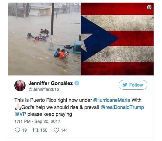 A tweet from Jenniffer Gonzalez, Puerto Rico's non-voting representative in Congress.
