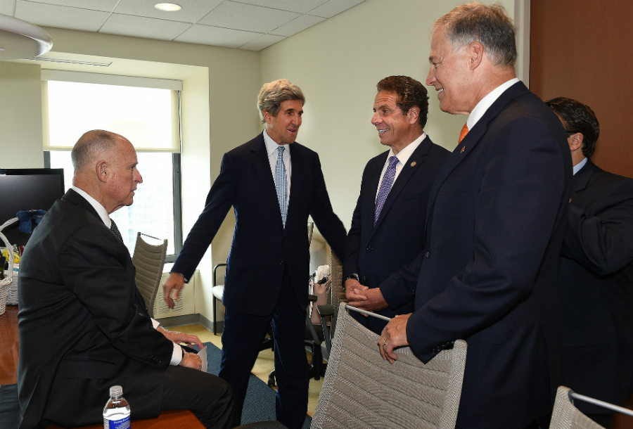 Govs. Jerry Brown of California, Andrew Cuomo of New York, and Jay Inslee of Washington lead the U.S. Climate Alliance. Credit: U.S. Climate Alliance