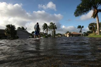 Neighborhoods across Houston flooded as Hurricane Harvey dropped more than 50 inches of rain on the city during the last week of August. Credit: Win McNamee/Getty Images