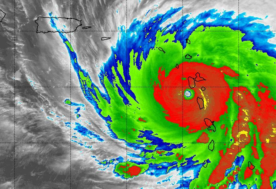 Hurricane Maria intensifies near the Leeward Islands. Credit: Hal Pierce/NASA-JAXA
