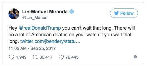 Tweet from Lin-Manuel Miranda