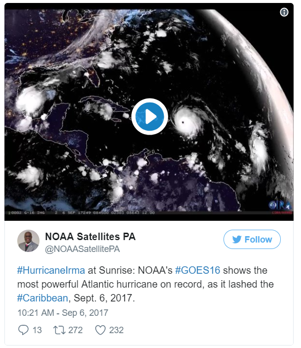 NOAA Satellite image of hurricanes at sunrise