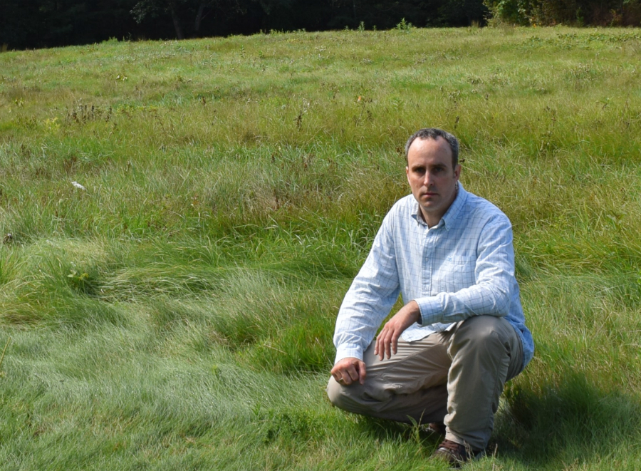 The author in the field where he was infected by a tick. Credit: Phil McKenna