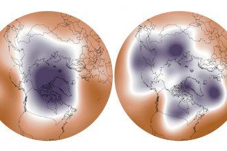 A strong versus weakened polar vortex. Credit: NOAA
