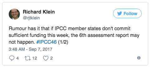 Tweet by IPCC author Richard Klein about funding