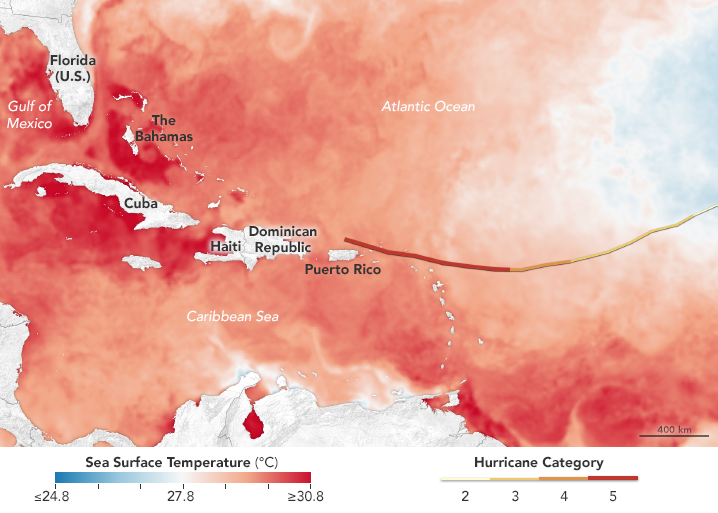 Sea surface temperatures were high as Hurricane Irma hit the islands in early September. Credit: NASA Earth Observatory