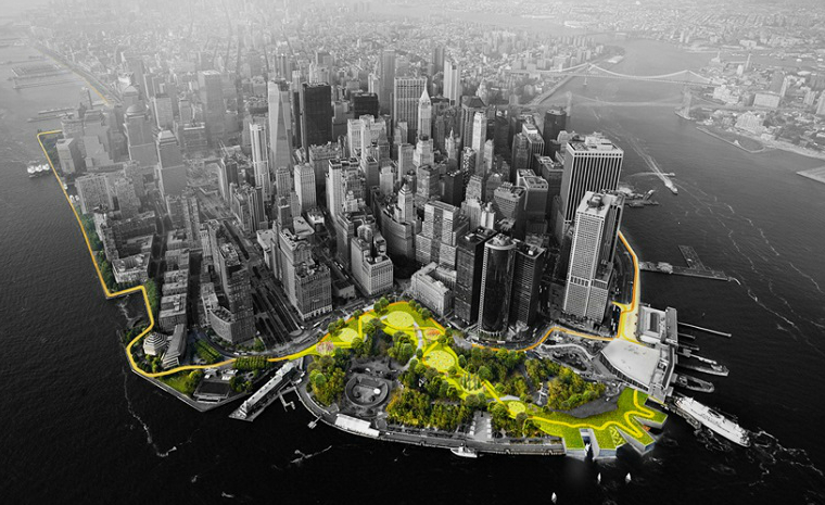 The Big U project is being designed to expand parks along the waterfront in ways that could help buffer low-lying areas of Manhattan from storm surges. Credit: Rebuild by Design