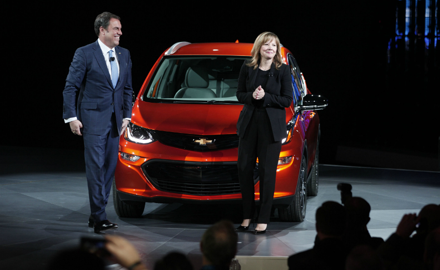 General Motors CEO Mary Barra and Mark Reuss, head of global product development, introduced the Chevy Bolt EV. Credit: Bill Pugliano/Getty