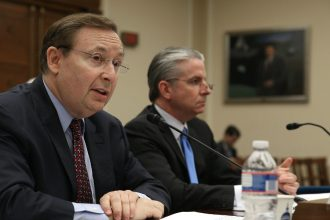 Barry Myers appeared before a House Science subcommittee in 2013 to discuss weather forecasting. Credit: Mark Wilson/Getty Images